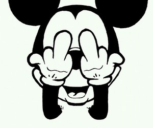 fuck off, haters, and micky mouse image