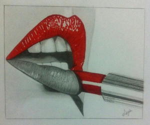 drawing, lipstick, and red image