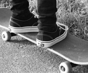 skate, vans, and black and white image