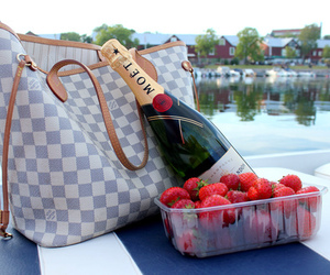 bag, champagne, and strawberry image