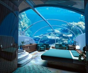 bedroom, room, and sea image