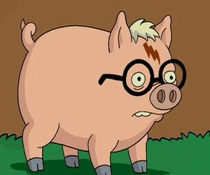 pig, harry potter, and the simpsons image