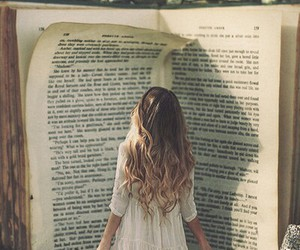beautiful, pretty girl, and book image