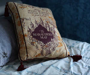 harry potter, pillow, and marauders map image