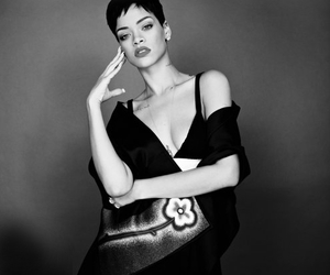 black and white, girl, and rihanna image
