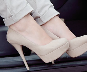 beige, heels, and fashion image