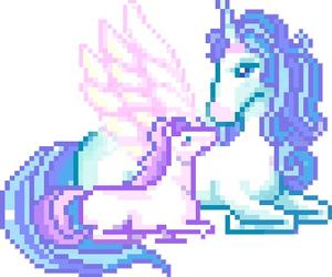unicorn, pixel, and kawaii image