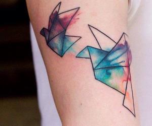 tattoo, bird, and origami image