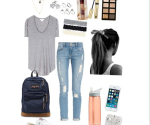 bow, denim jeans, and casual image
