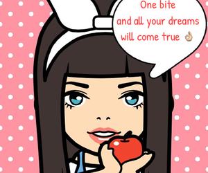 apple, bite, and dark hair image
