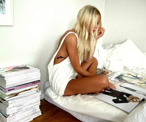 bed, blonde, and tanned image