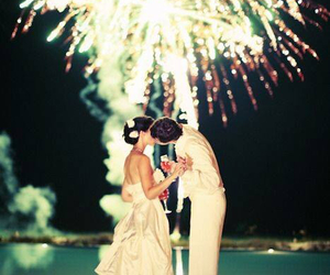 love, wedding, and fireworks image