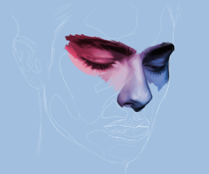 art, blue, and face image