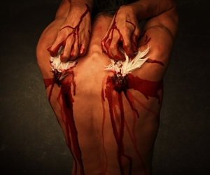 angel, bleeding, and feathers image
