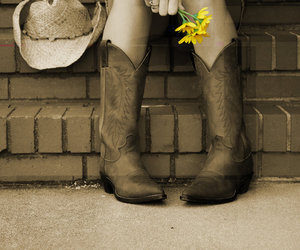 Cowgirl, flower, and girl image
