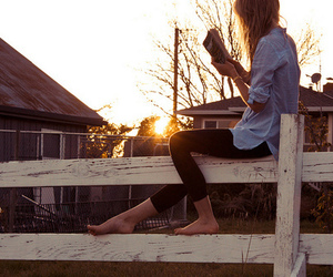 girl, book, and sun image