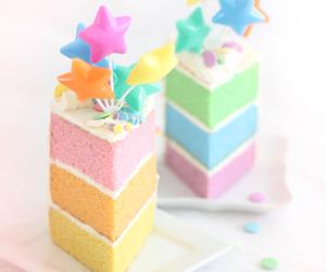 cake, buttercream, and rainbow cake image