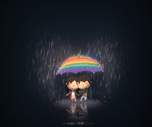 love, rain, and rainbow image