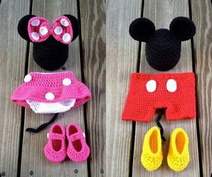 baby clothes, mickey mouse, and minnie mouse image