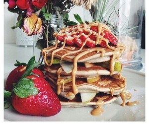 food, pancakes, and strawberries image