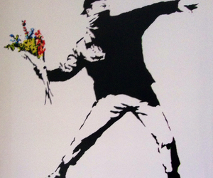 BANKSY, art, and flowers image