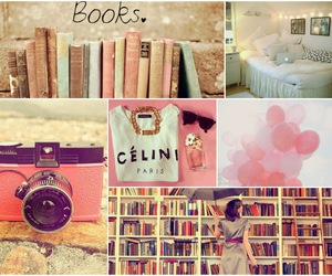 books, pink, and camera image