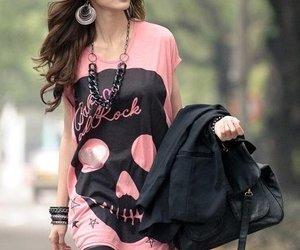 fashion, girl, and skull image