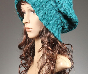 knit hat, slouchy, and women image