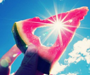heart, sky, and watermelon image