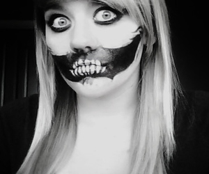 black and white, girl, and makeup image