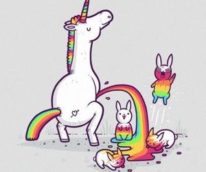 unicorn, rainbow, and rabbit image