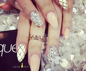 nails, nail art, and diamond image