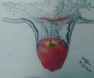 apple, water, and drawing image