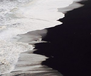 black, ocean, and sand image