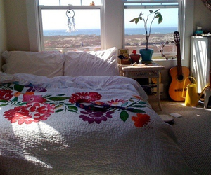 beach, bedroom, and guitar image
