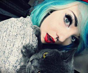scene, blue hair, and girl image