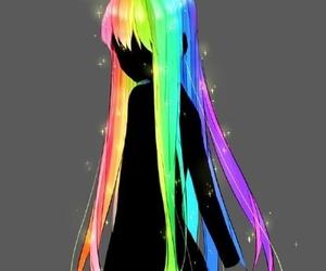 anime, hair, and rainbow image