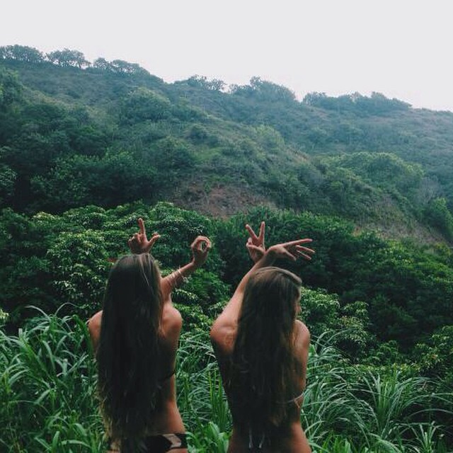 girl, tropical, and green image