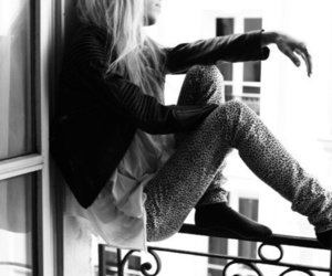 girl, black and white, and blond image