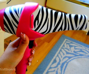 pink, hair dryer, and zebra image