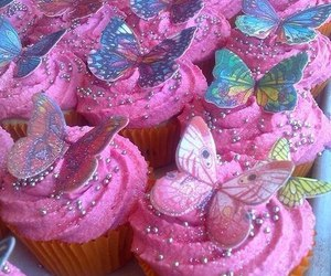 butterfly, pink, and cupcake image
