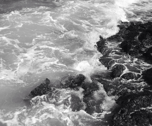 black and white, Oahu, and wave image