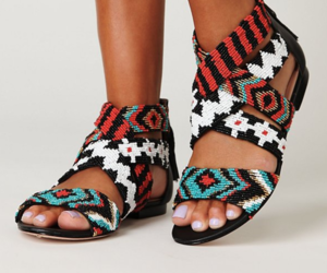 shoes, sandals, and aztec image