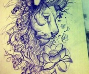 tattoo, lion, and art image