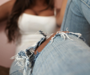 girls and ripped jeans image