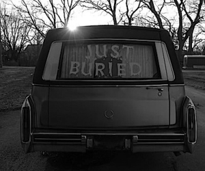 buried, car, and black and white image