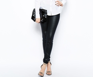 asos, black and white, and leather pants image