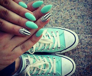 nails, converse, and blue image
