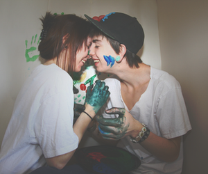 in love, smile, and we image