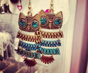 owl, earrings, and blue image
